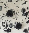 Casa Embellish Spring Floral Stretch Chiffon Fabric -Black