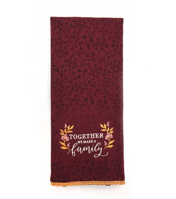 Simply Autumn 16''x28'' Towel-Together We Make a Family on Burgundy