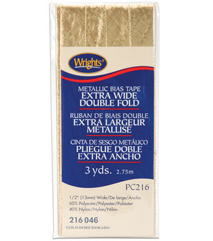 """Wrights Double Fold Lame Bias Tape-1/2""""W x 3yds Gold"""