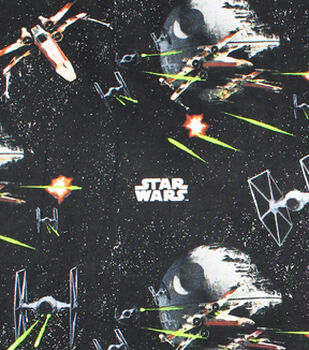 """Star Wars Quilt Cotton Fabric 44""""-Ships Black"""