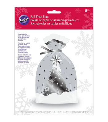Wilton® Pack of 8 Foil Treat Bags-Snowflake Wishes