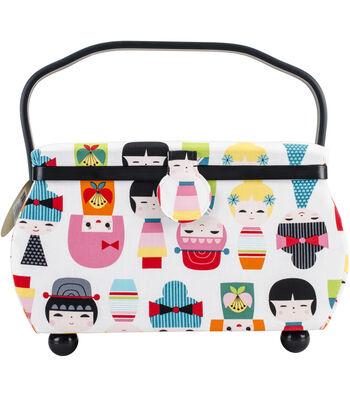 Prym Doll Print Rectangle Sewing Basket