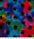 Novelty Cotton Fabric 44\u0027\u0027-Paw Print on Tie Dye