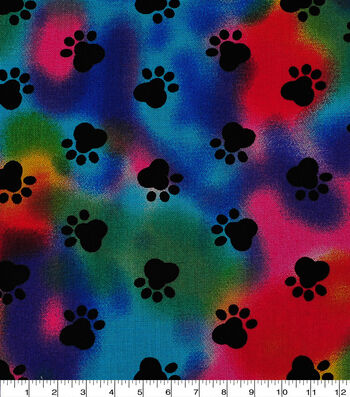 Novelty Cotton Fabric -Paw Print on Tie Dye