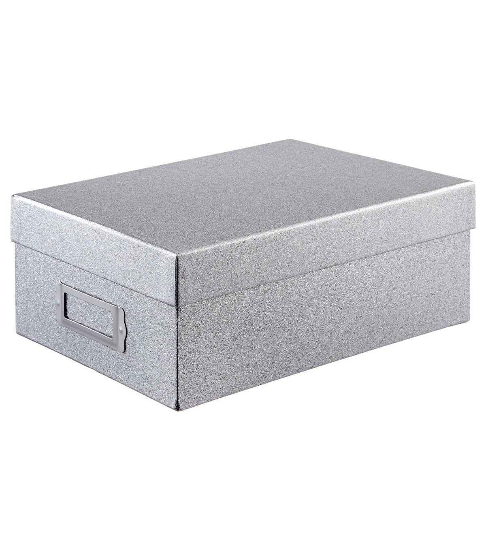 Photo Storage Box Silver Glitter