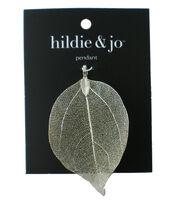 hildie & jo Brass Leaf Pendant-Silver, , hi-res