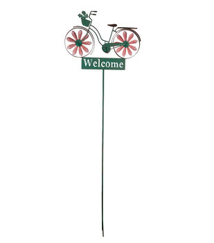 In the Garden 20''x62'' Bike Kinetic Stake-Welcome