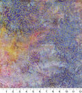 Batik Cotton Fabric 44\u0022-Bright Rainbow Scrolls Metallic