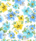 Snuggle Flannel Fabric -Blue & Yellow Hibiscuses
