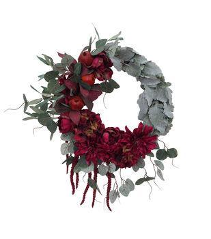 Blooming Autumn Peony, Dahlia & Greenery Wreath