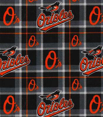 "Baltimore Orioles Flannel Fabric 42""-Plaid"