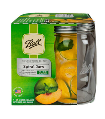 Ball Elite 4 Pack 28 oz. Wide Mouth Spiral Mason Jars