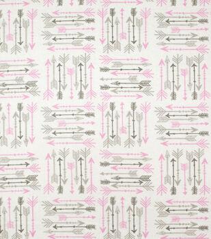 Super Snuggle Flannel Fabric-Pink & Gray Arrows