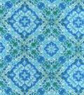Snuggle Flannel Fabric -Geometric Green Blue Watercolor