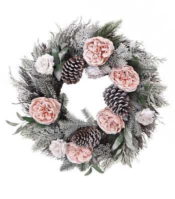 Blooming Holiday Christmas 22'' Pink Rose & Frosted Pine Wreath