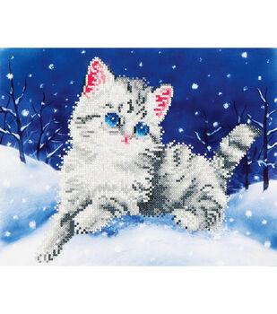 """Diamond Embroidery Facet Art Kit 17""""X13.7""""-Kitten In The Snow"""