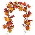 Blooming Autumn 66\u0027\u0027 Velvet Maple Leaf & Berry Garland-Rust