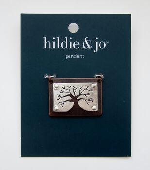 hildie & jo Tree Cut Out Rectangle Pendant