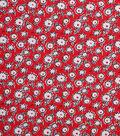 1930\u0027s Cotton Fabric 43\u0027\u0027-Mini Floral Sketch on Red