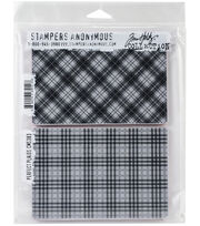 Tim Holtz Cling Stamps 7''X8.5''-Perfect Plaid, , hi-res