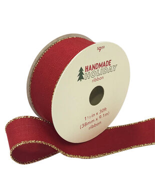 Handmade Holiday Christmas Textured Ribbon 1.5''x30'-Red with Gold Edge