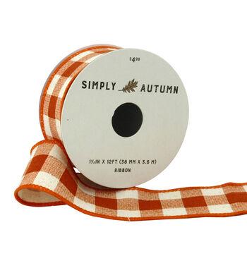 Simply Autumn Ribbon 1.5''x12'-Orange Buffalo Plaid