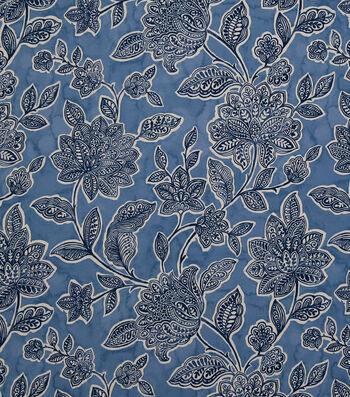 Stretch Chiffon Fabric 57''-Boho Floral on Blue