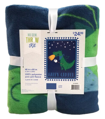 "No Sew Fleece Throw Kit 48""-Happy Camper"