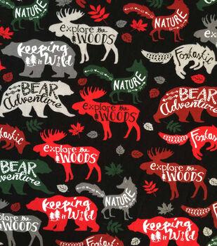 "Doodles Christmas Cotton Fabric 57""-Woodland Animals On Black"