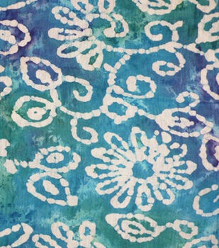 Speciality Cotton Gauze Fabric -Batik Floral on Teal & Navy Tie Dye