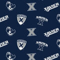 Xavier University Musketeers Cotton Fabric-All Over Logo
