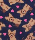 Blizzard Fleece Fabric -Scottish Terrier Hearts