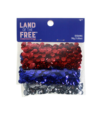 Land of the Free Holographic Sequins-Red, Silver & Blue