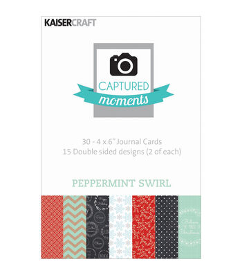 """Captured Moments Double-Sided Cards 6""""X4"""" 30/Pkg-Peppermint Swirl"""