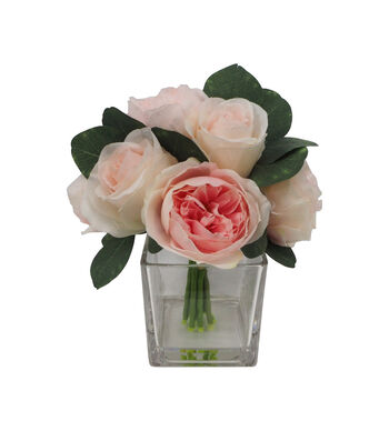 Fresh Picked Spring 9'' Rose Arrangement in Glass-Pink