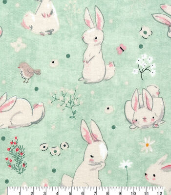 Easter Cotton Fabric-Gentle Bunny In Grass