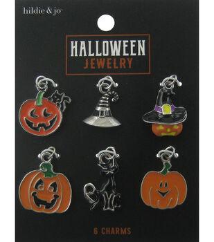 hildie & jo Halloween Charms-Pumpkins Cat Silver