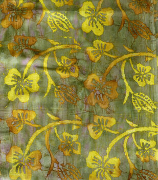 Textured Cotton Batik Apparel Fabric-Gold Leaf on Green