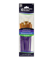 Loew-Cornell Nylon Brush Set 10Pk-White, , hi-res