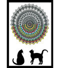 Design Works Zenbroidery Stamped Picture Kit-Cat Mandala