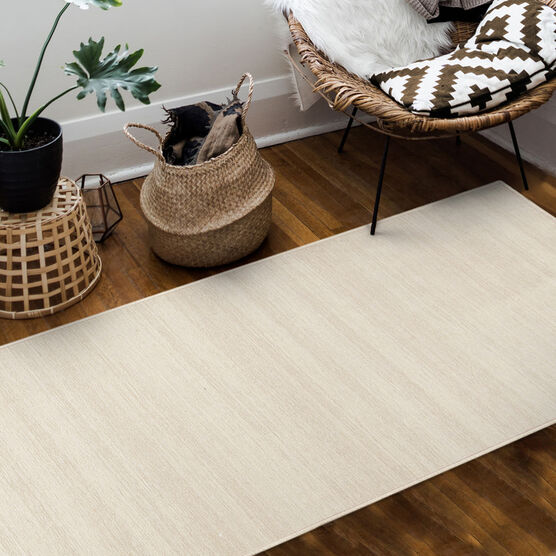 Ruggable Washable 2.5x7' Runner Rug Solid Textured Cream, , hi-res, image 2