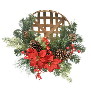 Handmade Holiday Berry, Pinecone, Pine & Red Poinsettia Basket Wreath