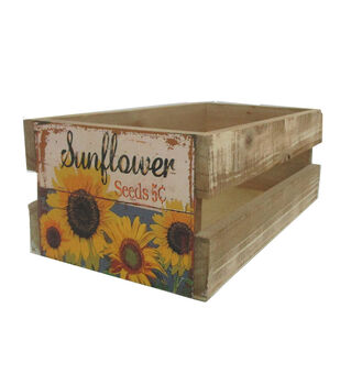 Blooming Autumn Wood Crate with Label-Sunflower