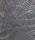Halloween Spirit Mesh Fabric-Purple Foil Webs