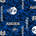 Utah State Aggies Fleece Fabric -Digital Camo