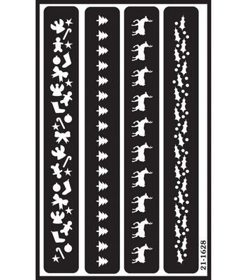 Armour Products Over 'n' Over Reusable Stencil-Christmas Borders