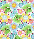 Snuggle Flannel Fabric -Happy Froggie & Floral