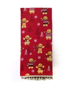 Handmade Holiday Christmas 16''x26'' Cotton Towel-Tossed Gingerbread Men