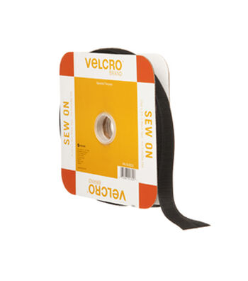 VELCRO Brand Sew On 30ft x 3/4in Tape, Black, Flange