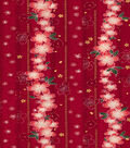 Asian Inspired Cotton Fabric 44\u0022-Red Floral Stripe Met